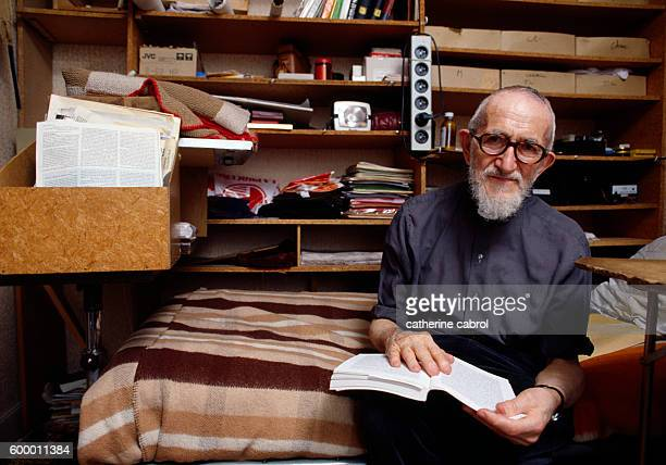 French clergyman Abbe Pierre in his Charenton office