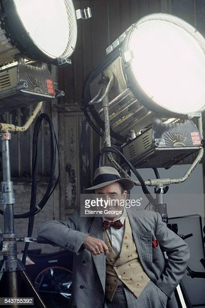 French clown actor director and writer Pierre Etaix on the set of the film 'Henry June' directed by Philip Kaufman and based on French writer Anais...
