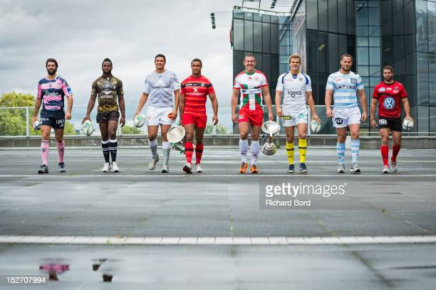 French club captains Pierre Rabadan of Stade Francais Paris, Fulgence Ouedraogo of Montpellier, Matthias Rolland of Castres Olympique, Thierry...