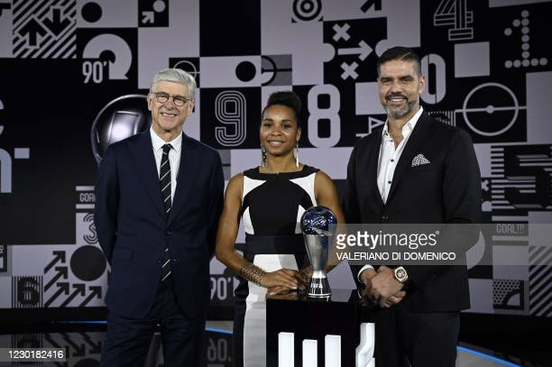 French coach Arsene Wenger, former French player and French Football Federation general secretary Laura Georges and Swiss former goalkeeper Pascal...