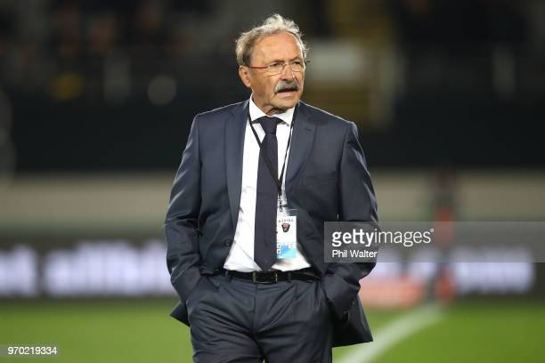 French coach Jacques Brunel looks on before the International Test match between the New Zealand All Blacks and France at Eden Park on June 9 2018 in...