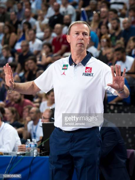 French coach Vincent Collet during the FIBA Basketball Wolrd cup 2019 qualifier match between France and Finland at the Sud de France Arena on...