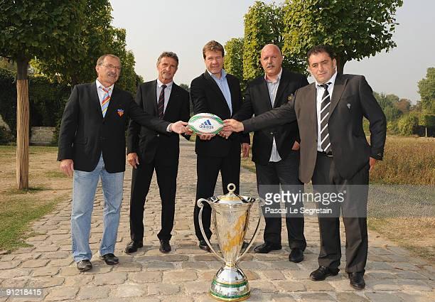 French coaches Jacques Brunel Guy Noves JeanMarc Lhermet Laurent Rodriguez and Laurent Seigne pose during the Heineken Cup Launch at Restaurant de...