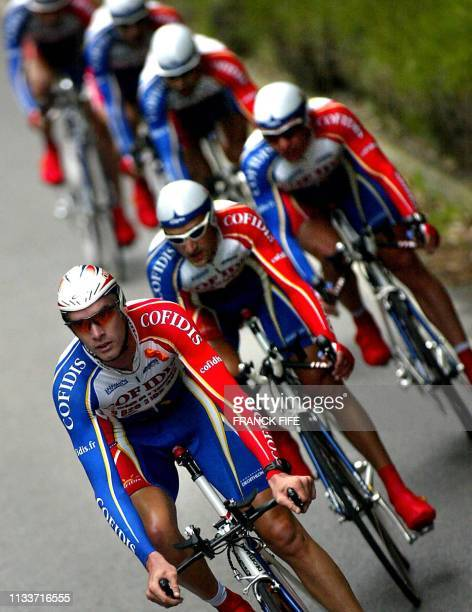 French Cofidis team rides during the first stage of the 58th Tour of Spain cycling race, a team time-trial between Gijon and Gijon, 06 September...