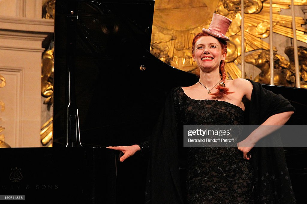 French coloratura soprano, Patricia Petibon, performs in the Royal Chapel prior to the gala dinner of Professor David Khayat's association 'AVEC', at Chateau de Versailles on February 4, 2013 in Versailles, France.