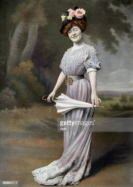 French comedian Amelie Dieterle as Blanche in play La ponette Paris photo by Cheri Rousseau from paper Le Theatre august 1st 1907