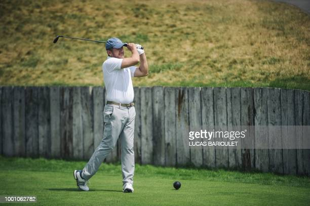 French comedian and filmmaker and one of the ambassadors of the 2018 Ryder Cup Dany Boon practices on July 14 2018 on the SaintQuentinenYvelines...