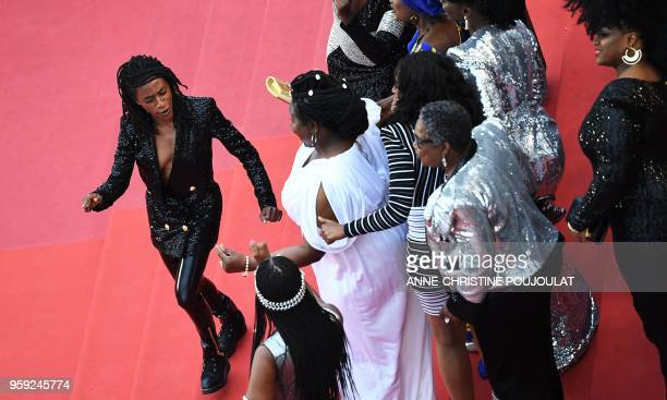 French comedian and humorist Shirley Souagnon dances with FrenchCameroonian MariePhilomene Nga FrenchPortuguese actress Sara Martins French actress...