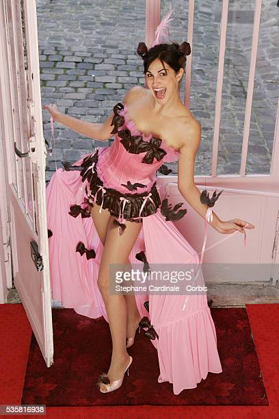 French comedian and singer Héléna Noguerra is one of the models chosen to present the 10th Salon du Chocolat She wears a dress by Fifi Chachnil...