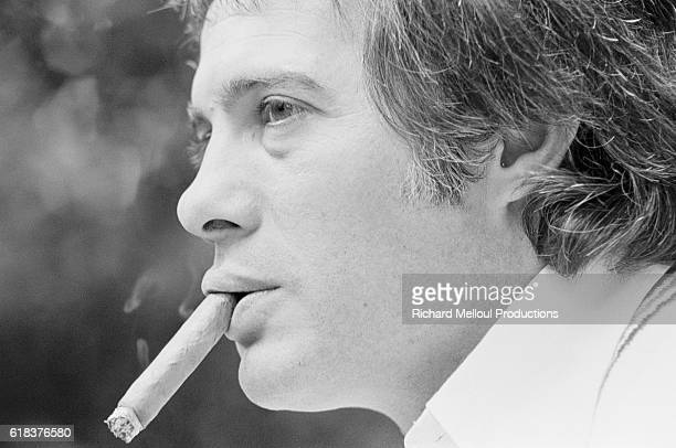 French Comedian Guy Bedos Smoking Cigar