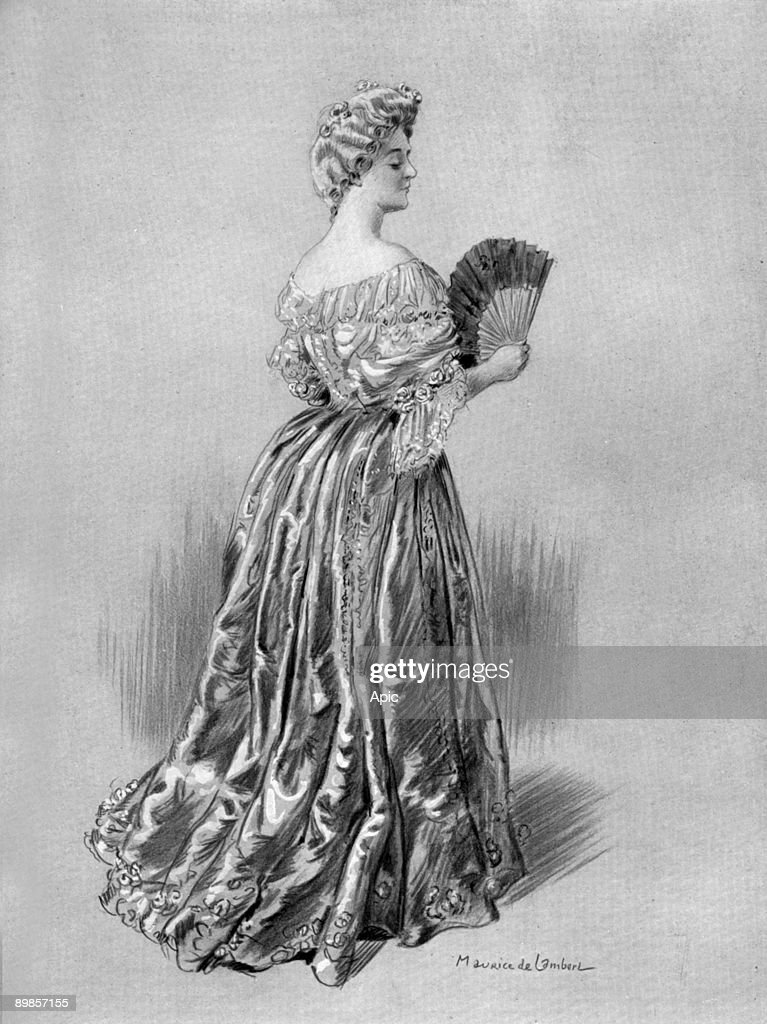 French comedian Leonie Yahne as marchioness of Civrac in play 'L'embarquement pour Cythere' by EmileVeyrin in Paris, drawing by Maurice de Lambert from french paper 'Le Theatre' november 1904 : News Photo