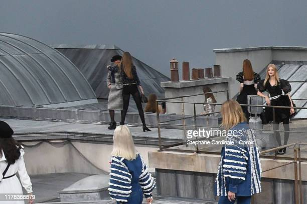 French comedian Marie Benoliel aka 'Marie S'Infiltre' gets kicked out by Gigi Hadid during the Chanel Womenswear Spring/Summer 2020 show as part of...
