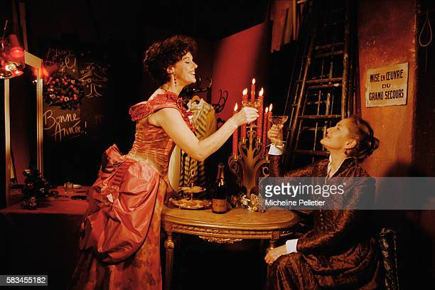 French comedians Dominique Sanda and Annie Duperey starring in a production of the Oscar Wilde play An Ideal Husband at the Theatre Antoine in Paris.