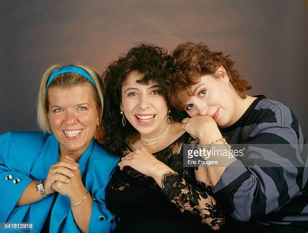 French comic actresses Mimie Mathy Isabelle de Botton and Michele Bernier known as Les Filles