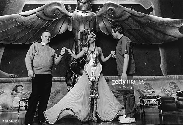 French comic book artist and scriptwriter Albert Uderzo and actor director and producer Alain Chabat on the set of Asterix and Obelix Meet Cleopatra