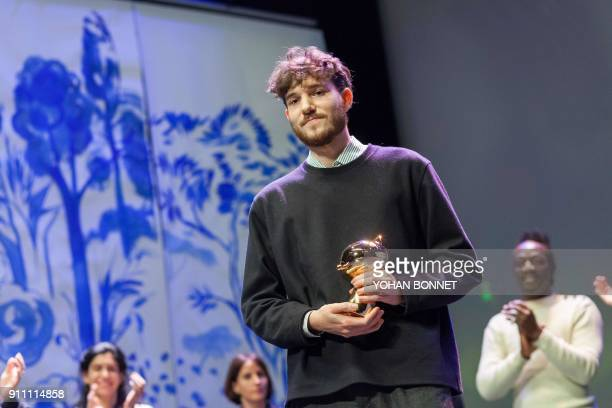 French comic book author Jeremie Moreau looks on after winning the Fauve d'Or best comic book award for his comic book 'La saga de Grimr' during the...