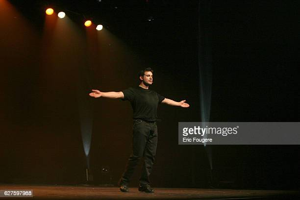 French comic Bruno Salomone on stage at the Bataclan