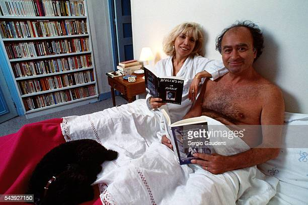 French comic strip artist Georges Wolinski and his wife Maryse in their Paris home