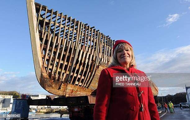 French commandant Cousteau's former wife Francine poses in front of La Calypso March 4 2016 in Concarneau western of France Celebrated French marine...