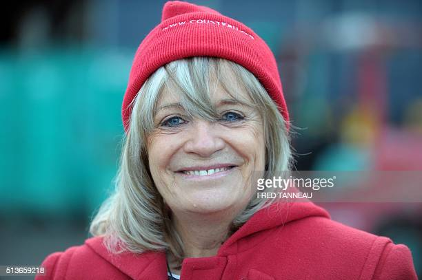 French commandant Cousteau's former wife Francine poses on March 4 2016 in Les Chantiers Piriou shipyard in Concarneau western of France Celebrated...