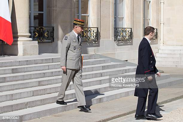 French Commander in chief of the army Pierre de Villiers goes out after a Security and Defense Council chaired by French President Francois Hollande...