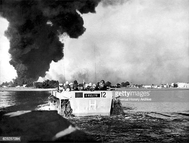 French commandos going ashore in an amphibious tank at Port Fuad Egypt during the Suez Crisis Dated 20th Century
