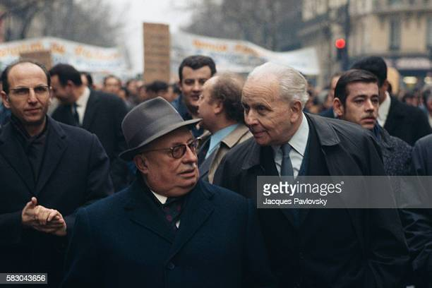 French Communist Party Leader Jacques Duclos Speaking with Poet Aragon