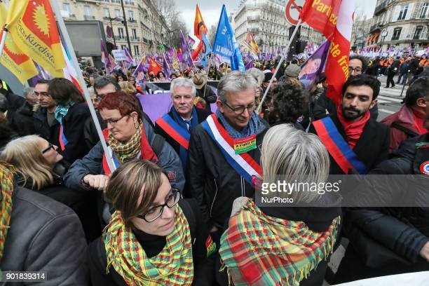 French Communist Party national secretary Pierre Laurent takes part in a demonstration on January 06 2017 in Paris to commemorate the killing on...