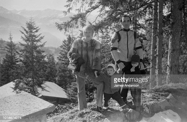French composer Charles Aznavour with his children Katia Mischa and his third wife Swede Ulla Thorsell in Crans sur Sierre Switzerland 13th January...