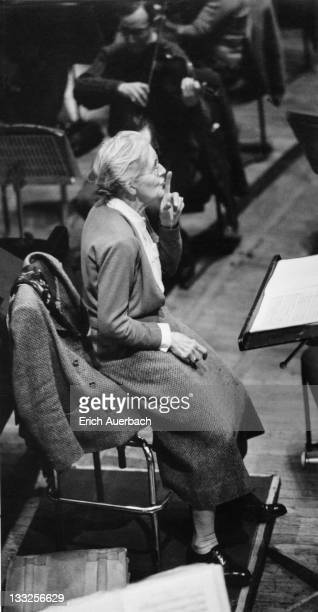 French composer, conductor and teacher Nadia Boulanger at the Free Trade Hall, Manchester, 27th February 1963.