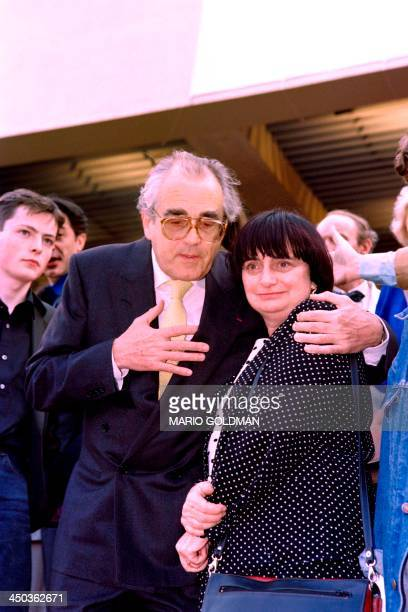 "French composer Michel Legrand and French Film director Agnes Varda pose after the screening of the film ""Jacquot de Nantes"" in homage to film..."