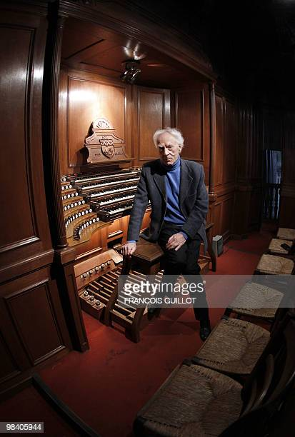 French composer organist pianist Jean Guillou poses near the SaintEustache church's pipe organ on March 24 2010 in Paris Since 1963 Guillou is the...