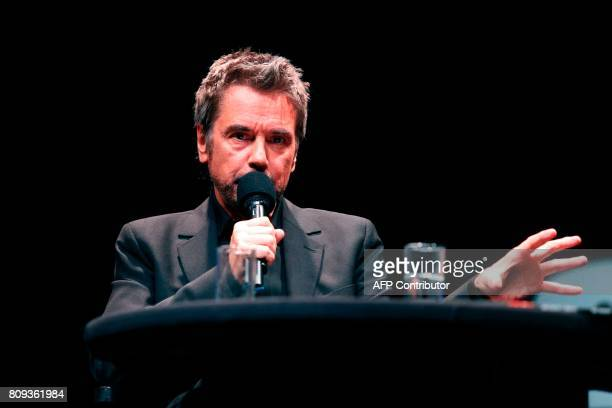 French composer performer and record producer JeanMichel Jarre speaks on stage during a masterclass at the Maison de la Radio in Paris on July 5 2017...