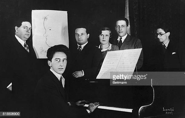 French composers known together as Les Six include Jean Cocteau as their spokesman Darius Milhaud a drawing to represent Georges Auric Arthur...