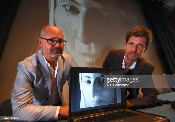 French computer graphics sculptor Philippe Froesch and French anthropologist paleontologist and forensic pathologist Philippe Charlier present a...