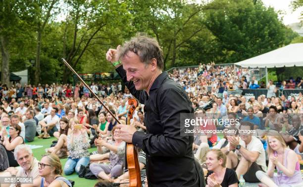 French conductor and musician JeanChristophe Spinosi of the Ensemble Matheus in the audience during a performance at Central Park SummerStage New...