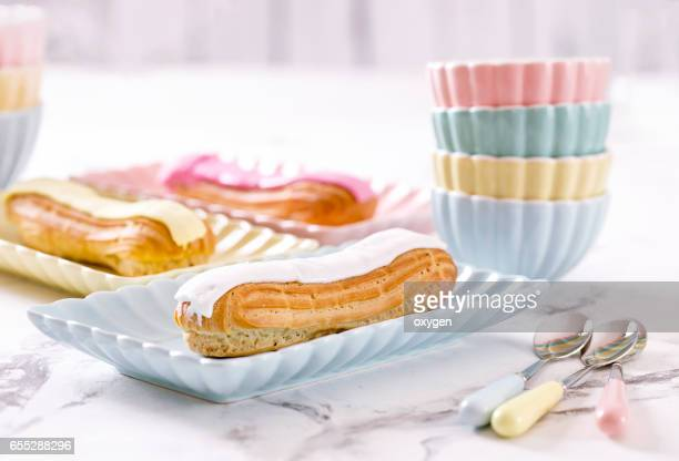 French confectionery, pink and white Eclair