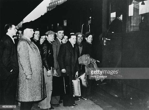 French conscript labour departing for Germany for service in the STO, Paris, 1943-1944. Faced with a decline in the supply of forced labour from...