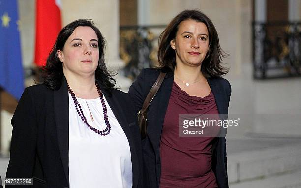 French CoPresident of the EELV Ecologist party group at the French National Assembly and former minister Cecile Duflot flanked by French National...