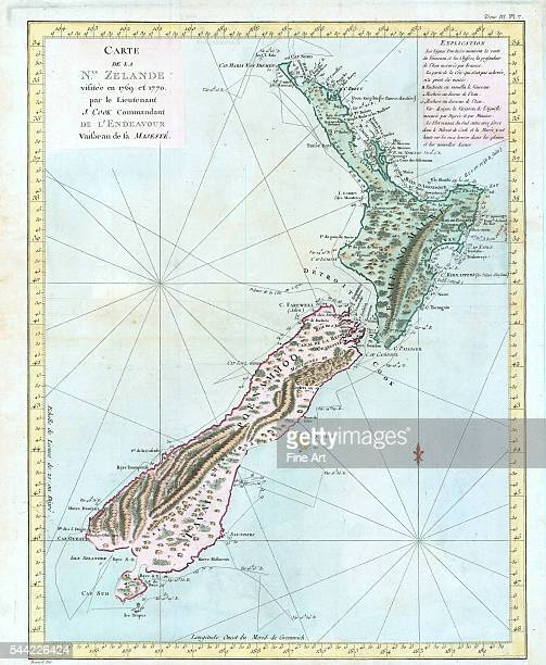 French copy of Cook's first map of New Zealand showing the route of the Endeavour around the islands from October 6 to April 1 1770 Carte de la Nle...