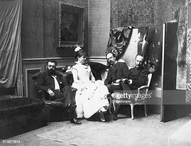 French coquette entertains three men in her quarters Photo ca 1900