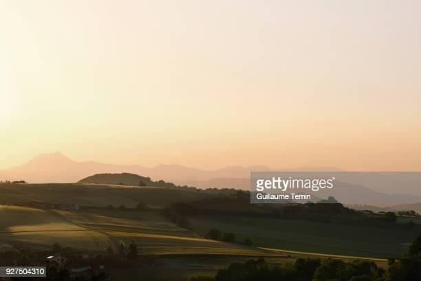 french countryside and volcanoes - auvergne stock pictures, royalty-free photos & images