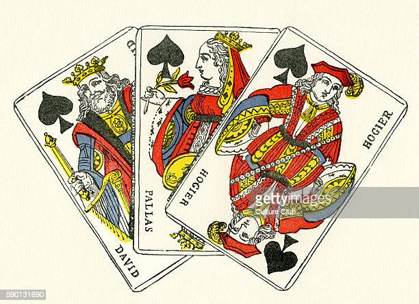 French court cards spades / piques King representing king David Queen representing Pallas and jack / knave representing Hogier Early 19th century...