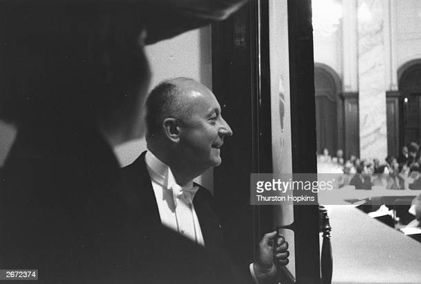 French couturier Christian Dior during a visit to Scotland Original Publication Picture Post 7765 Dior In Scotland pub 1955