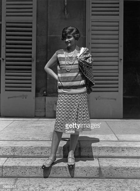 French couturier Gabrielle 'Coco' Chanel at her home, Fauborg, St Honore, Paris.