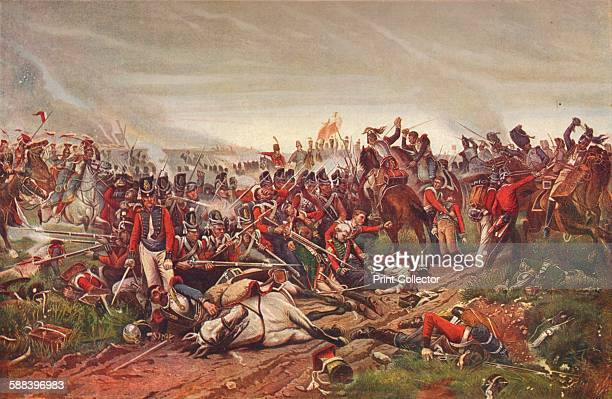 French cuirassiers charging a British infantry square at the Battle of Waterloo 1815 From Cassell's Illustrated History of England Vol V Artist P...