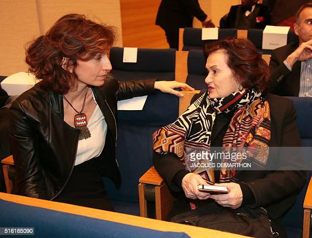 French Culture minister Audrey Azoulay and writer and psychanalyst Elisabeth Roudinesco talk on March 17 2016 at the College de France in Paris...