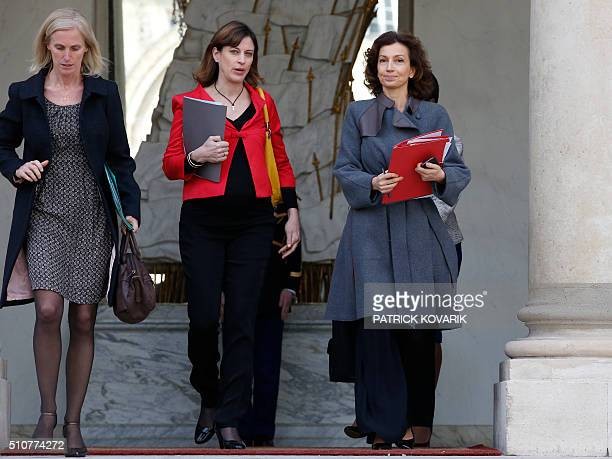French Culture minister Audrey Azoulay junior minister for victims aid Juliette Meadel and junior minister for Disabled People and the Fight Against...