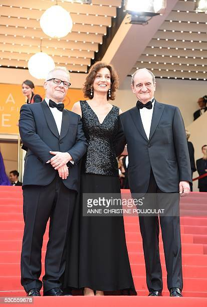 French Culture Minister Audrey Azoulay poses after being welcomed by the Cannes Film Festival General Delegate Thierry Fremaux and Cannes Film...