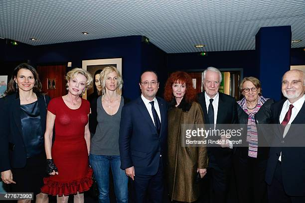 French Culture Minister Aurelie Filippetti actresses Caroline Silhol Sandrine Kiberlain President of the French Republic Francois Hollande actress...
